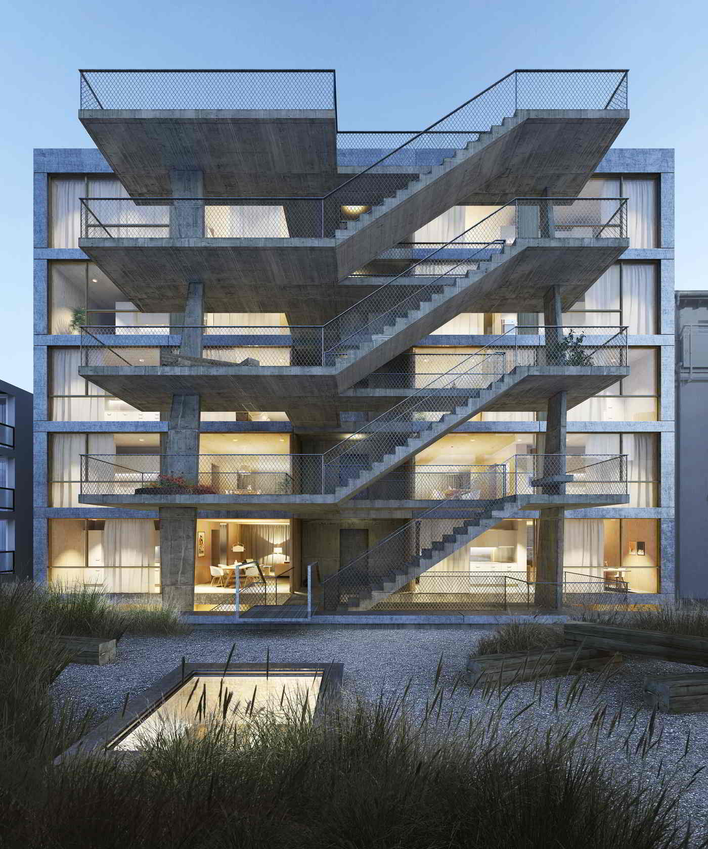 MIND Architects Collective Stadthaus aus Holz Hofseite