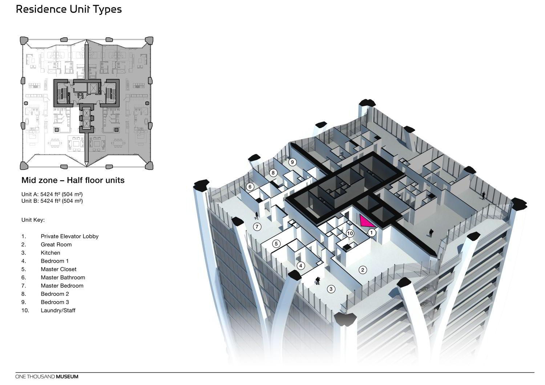 Wohnturm in Miami von Zaha Hadid mit Geschoss-Isometrie