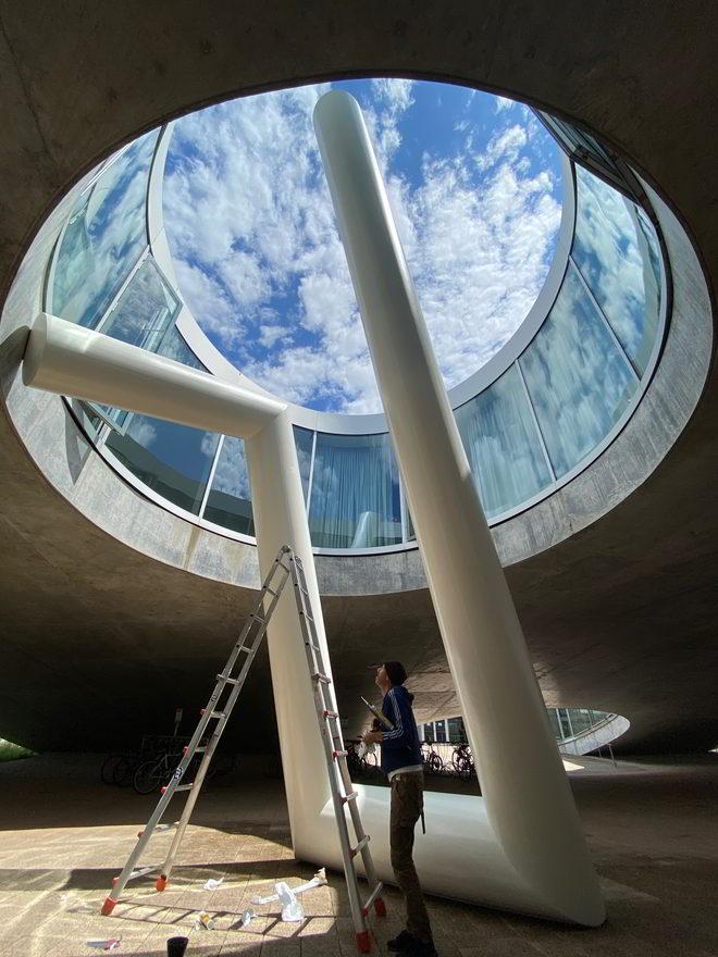 L/B Errichtung von Up #4 im Rolex Learning Center Lausanne