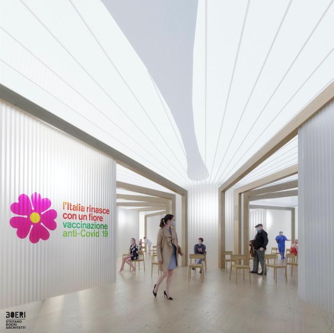 Stefano Boeri Pavillon-Innenraum für Impfkampagne Italien