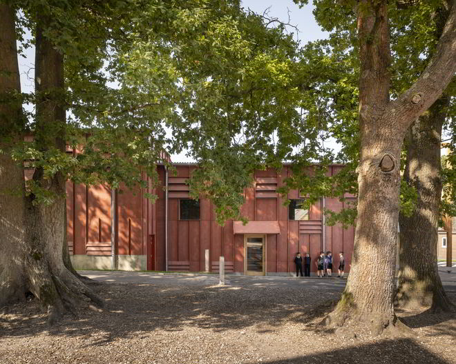 David Brownlow Theatre by Jonathan Tuckey with green surrounding