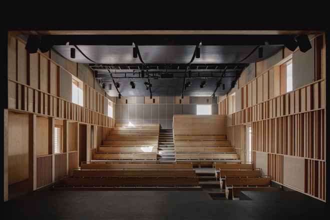Theater interior with windows